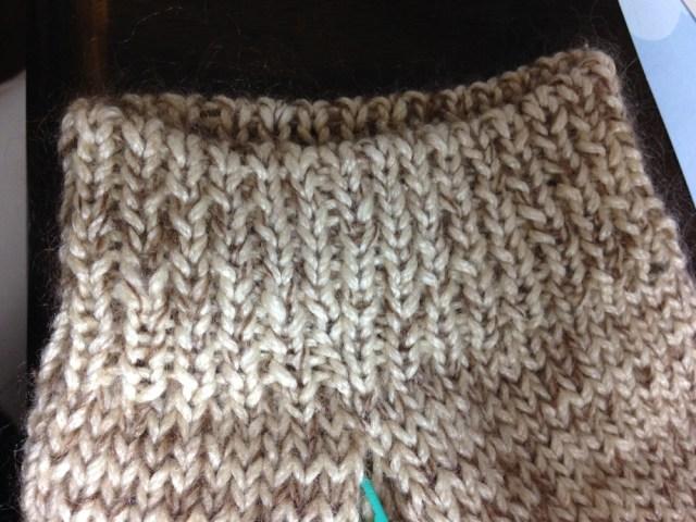 ゴム編みとゴム編みのはぎ