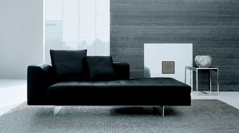 Sof moderno de cuero negro  Imgenes y fotos