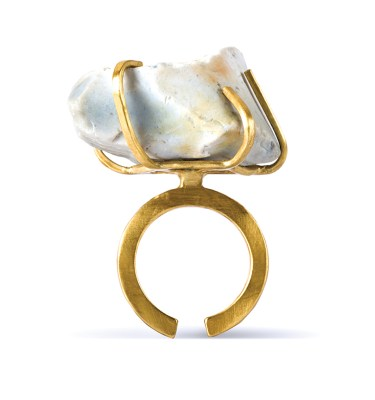 Handmade Stone Jewellery Handcrafted Ring Etta Rock by Saloukee Front View