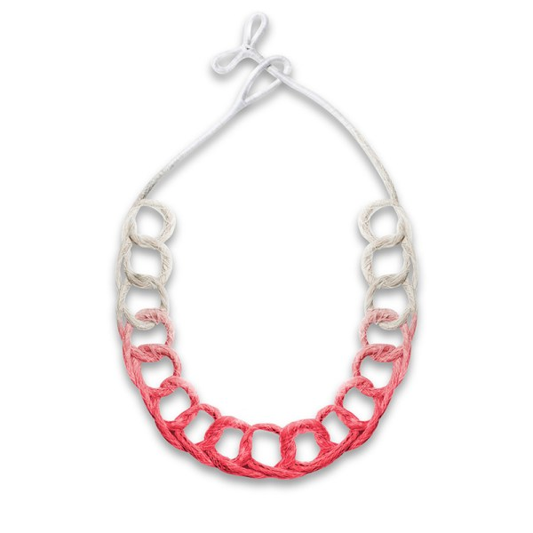 Handmade Innovative Jewellery Statement Necklace Loops Brights Ruby Red by Saloukee Front View