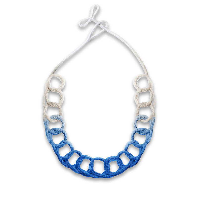 Handmade Innovative Jewellery Handmade Jewellery Statement Necklace Loops Brights Sappphire Blue by Saloukee Front View