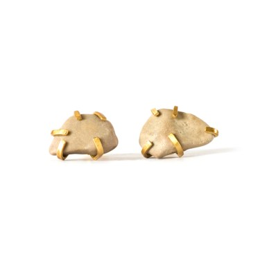 Handmade Unusual Jewellery Handcrafted Earrings Gudrun Studs Cream by Saloukee Top View