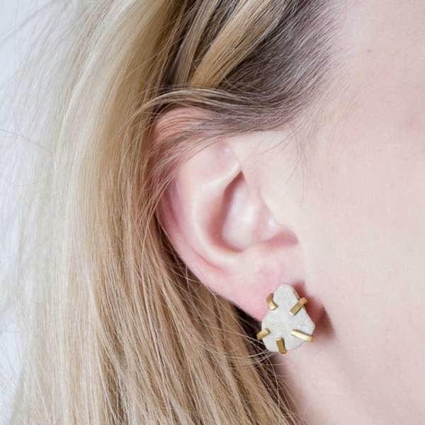 Handmade Contemporary Jewellery Handcrafted Earrings Gudrun Studs White by Saloukee Lifestyle