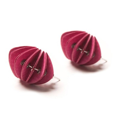 Handmade Paper Jewellery Paper Earrings Disperse Brights Fresh Pink by Saloukee