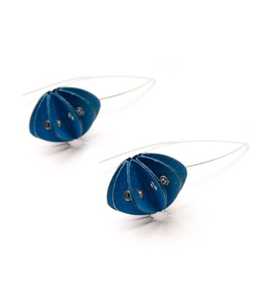 Handmade Delicate Jewellery Paper Earrings Unity Brights Fresh Blue by Saloukee Front View