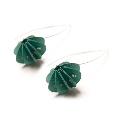 Handmade Delicate Jewellery Paper Earrings Unity Brights Fresh Green by Saloukee Front View