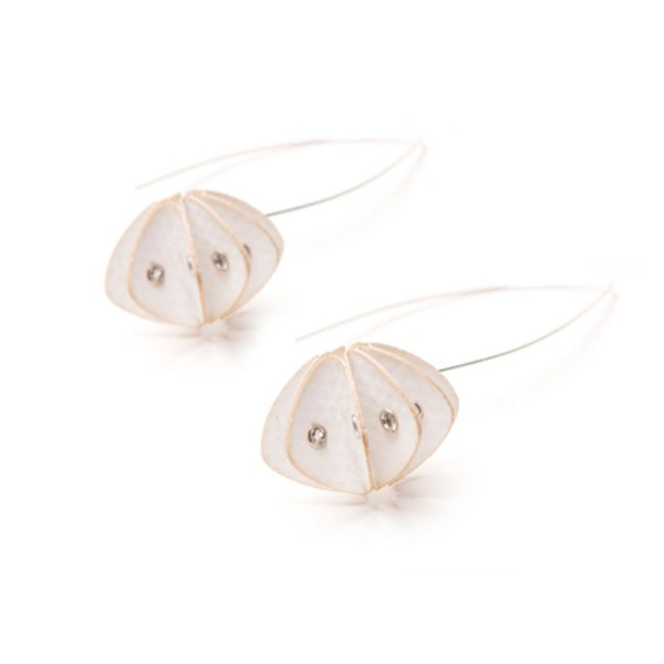 Handmade Elegant Jewellery Paper Earrings Unity Pastels China White by Saloukee Front View