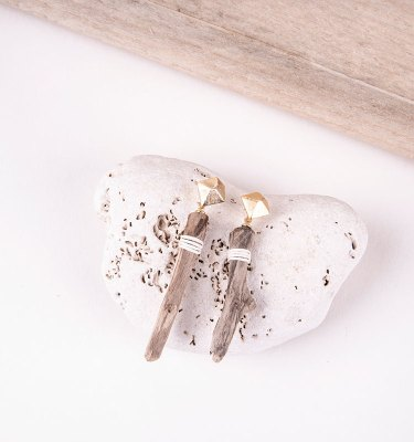 short driftwood earrings