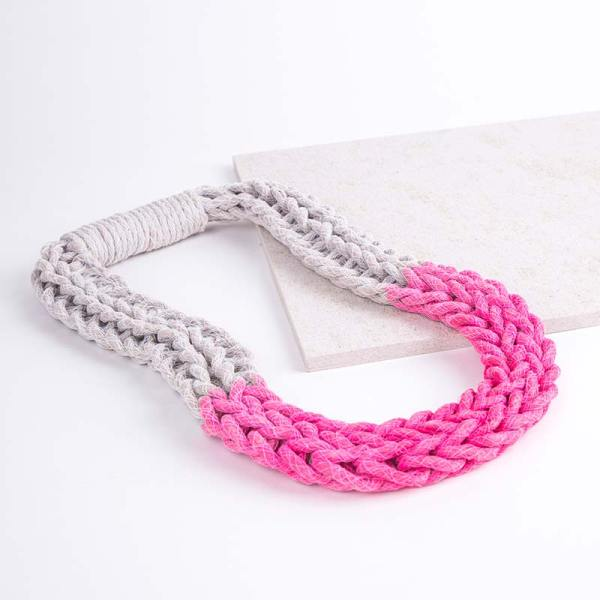 Neon Pink Woven Jewellery Statement