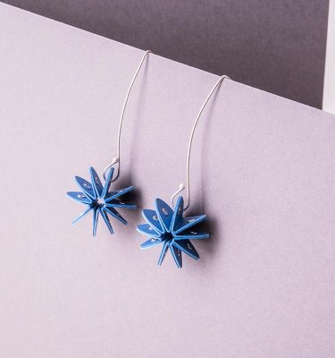 blue paper earrings