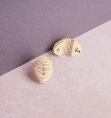 cream paper stud earrings