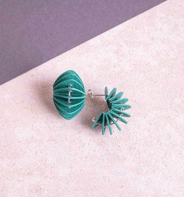 green paper stud earrings