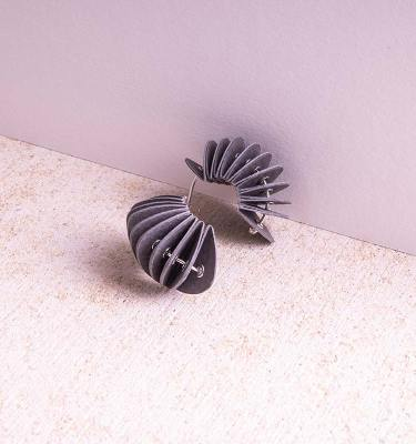 grey paper stud earrings