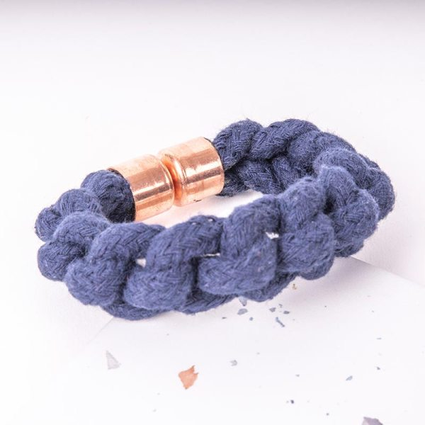 Blue Woven Bracelet With copper