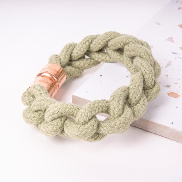 Green Woven Bracelet With Copper