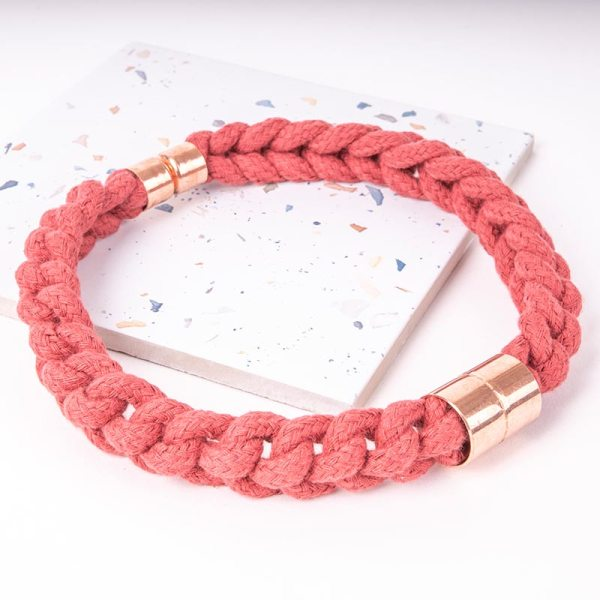 Red Statement Necklace With Copper
