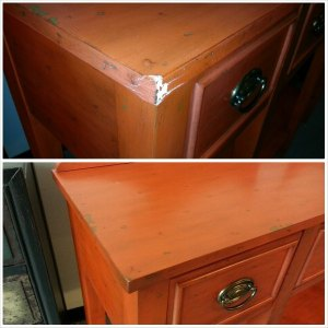 Commercial Furniture Service: dresser damaged in transit repaired by Salpeck's Furniture Service