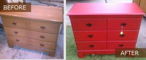 Small chest painted before after