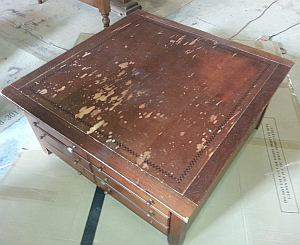 water damaged table
