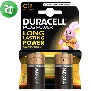Duracell Plus Power Size C Batteries 1.5V 2PCS
