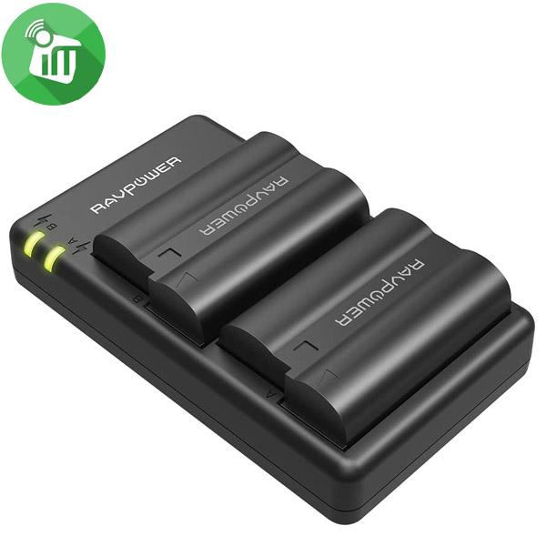RAVPower EN-EL15 Camera Dual Battery Charger Set for Nikon