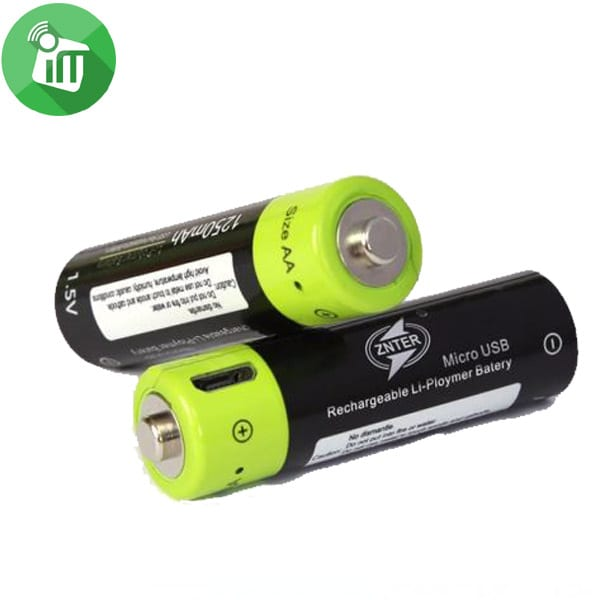 ZNTER Li-polymer 2PCS Size AA Micro USB Rechargeable Battery 1250mAh-1.5V