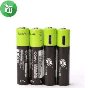 ZNTER Li-polymer 4PCS Size AAA Micro USB Rechargeable Battery 400mAh-1.5V