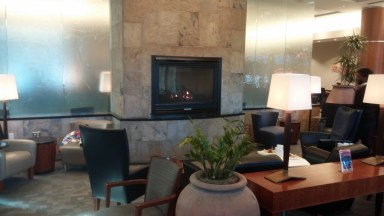 seating areas and fireplace