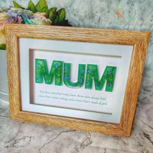 Mum or Dad Framed resin letters with quote and flowers