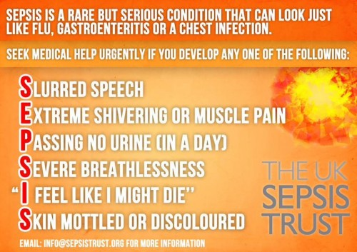 Sudden onset of slurred speech?  One of the six signs of sepsis – it's a killer!