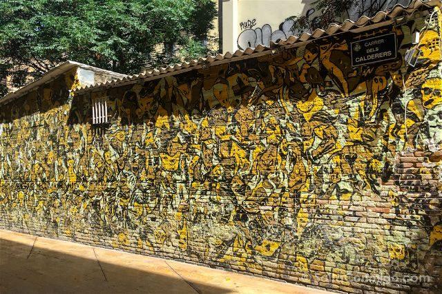 Stop War Victim's Wall. Carrer dels Calderers esquina con plaza del Esparto