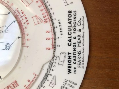 Vintage Fearns Mears Weight Calculator for Casting & Forging