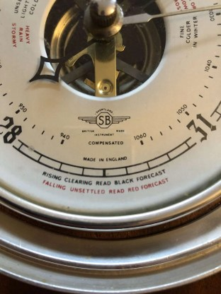 Vintage horseshoe compensated aneroid barometer by the firm of SB Shortland smith, circa 1940.