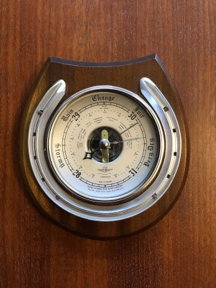 Vintage horseshoe barometer by the firm of SB Shortland smith, circa 1940.