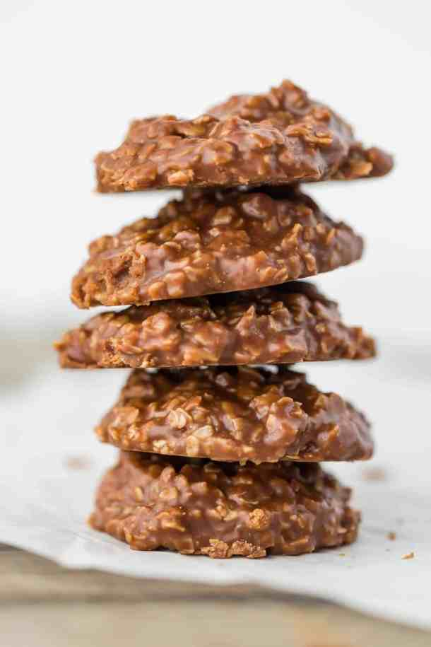 One pile of 5 chocolate peanut butter oatmeal no-bake cookies.