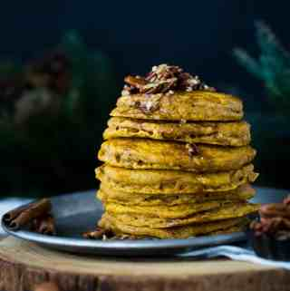 Pumpkin Pancakes with Cinnamon Spiced Maple Syrup