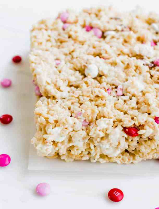 Valentines Day M&M Rice Krispie Treats with red, pink, and white M&M's.