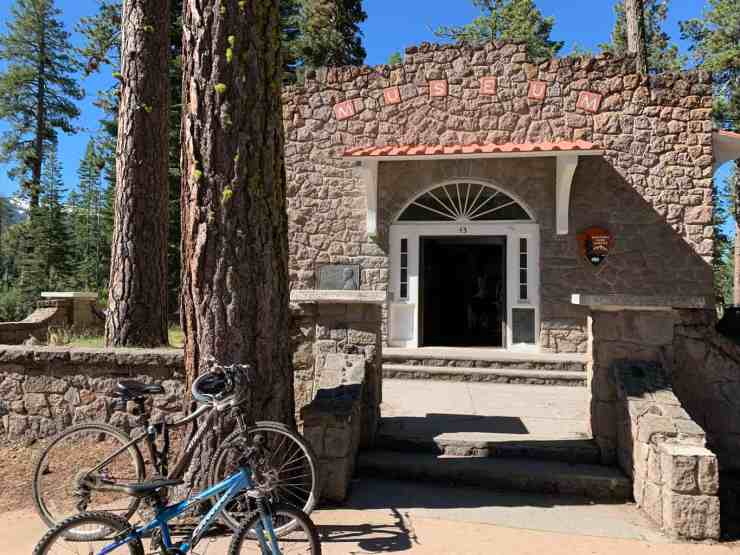 two bikes parked in from of the Loomis Museum in Lassen National Park.