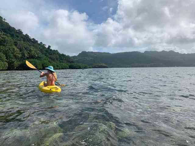 woman with blue hat paddling a yellow kayak in the ocean along a lush coastline.
