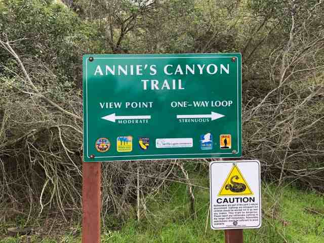 Trail sign at Annies Canyon in San Diego