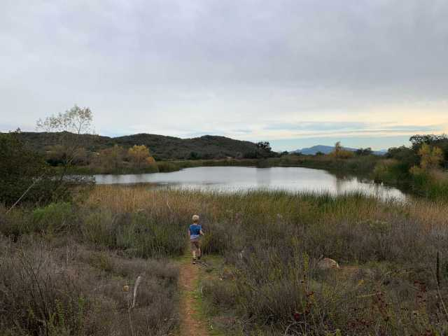 pond at daley ranch with views of surrounding southern california desert