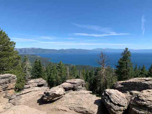 looking down at kings beach from Brockway summit. one of the best short hikes in tahoe