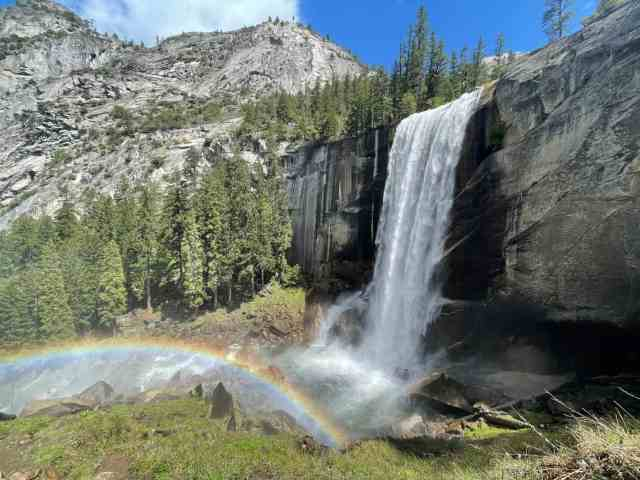 waterfall on the mist trail in yosemite