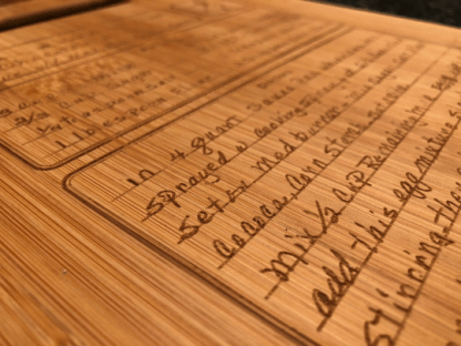 Custom engraved handwritten recipe cutting board