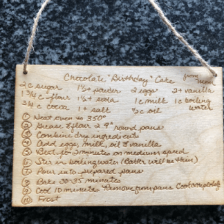 Custom laser engraved recipe card