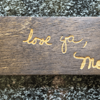 laser engraved handwriting sign