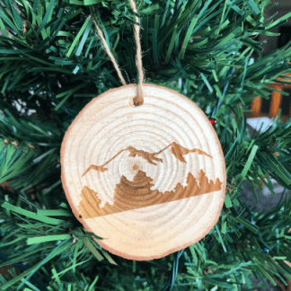 mountain ornament laser engraved