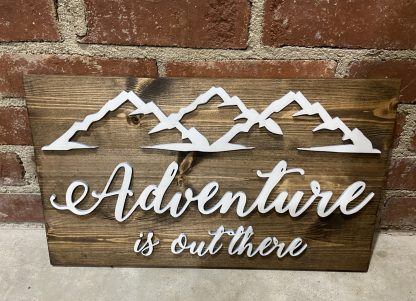 Adventure is out there mountain wood pallet sign