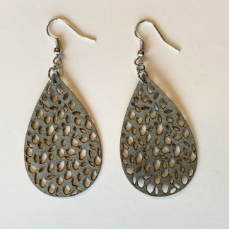 Grey faux leather teardrop earrings with cutouts