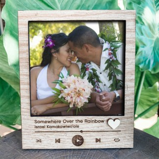 polaroid desk frame with favorite song engraving
